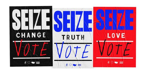 Seize change truth love banner with sub pop logo