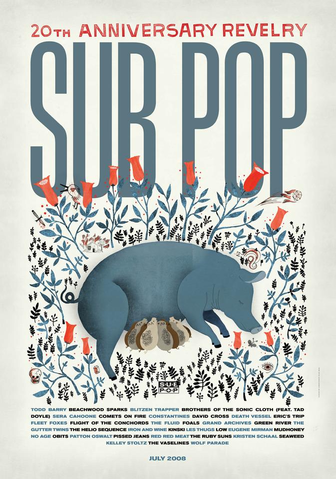 Sub Pop 20th Anniversary Poster Sub Pop Mega Mart