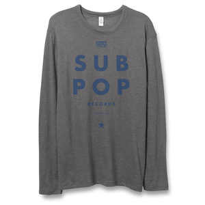 Sub Pop Futura Long Sleeve Grey W Blue Sub Pop Mega Mart