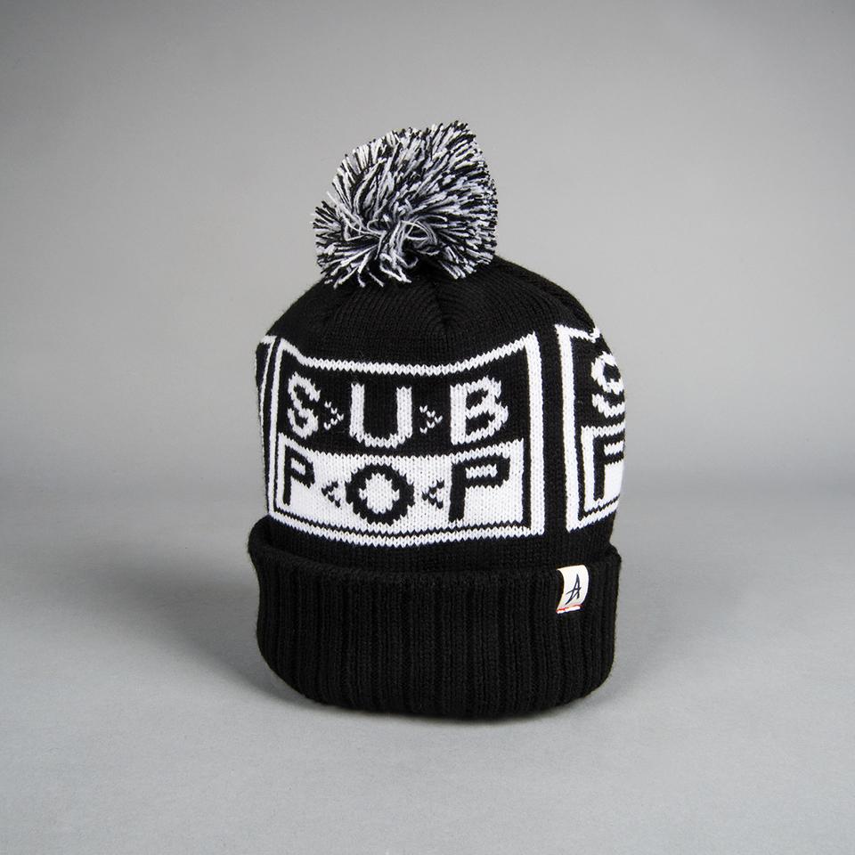 Sub Pop Altamont X Sp Logo Knit Hat Black W White Pom