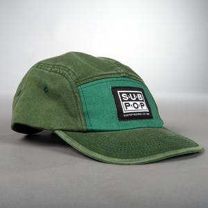 Hat colorblock green logo side