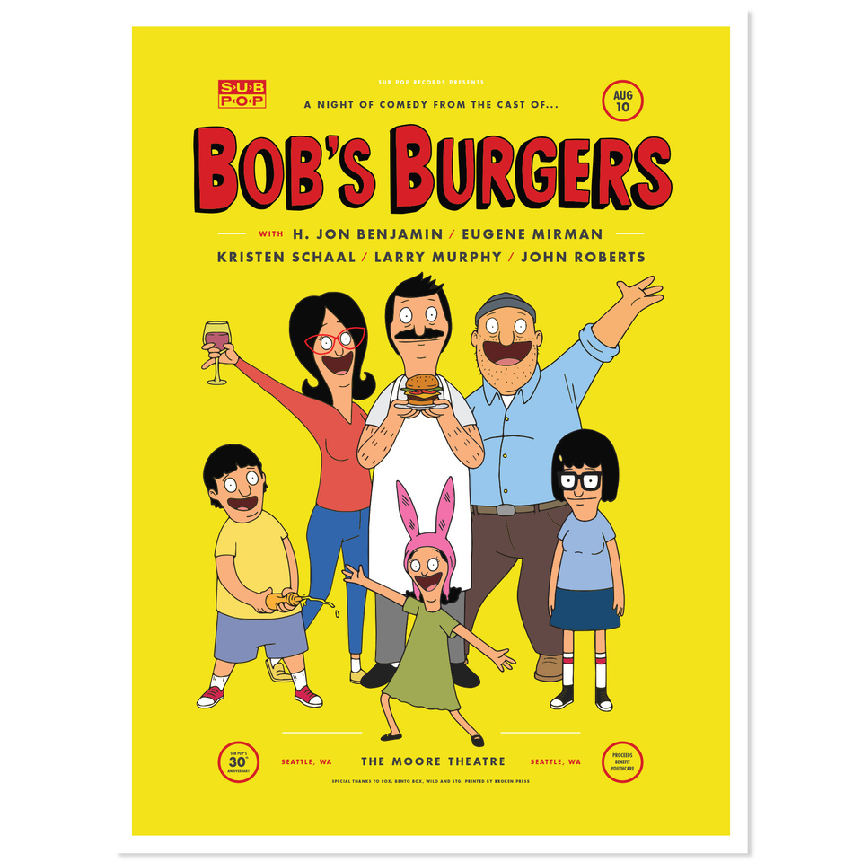 Bob S Burgers Bob S Burgers Comedy Night Poster Sub Pop